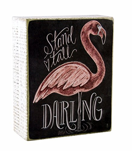 Stand Tall Darling Flamingo Themed Decorative Wooden Box Sign