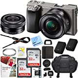 Sony Alpha a6000 Mirrorless Digital Camera 24.3MP SLR (Gray) w/ 16-50mm Lens ILCE-6000L/H with Extra Battery Case 2x 32GB Memory Deluxe Pro Bundle