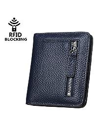 xhorizon TM FL1 Women's RFID Blocking Small Compact Bifold Zipper Leather Pocket Wallet Purse (Navy)
