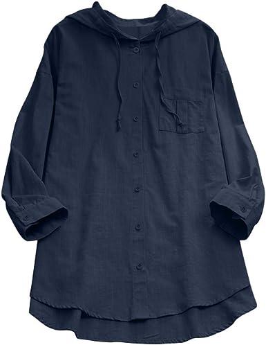 Mlide - Blusa de jacquard de manga larga con botones para mujer