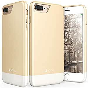 "iPhone 7 Plus Case, Vena [iSlide][Two-Tone] Dock-Friendly Slim Fit Hard Case Cover for Apple iPhone 7 Plus (5.5""-inch) (Champagne Gold/White)"