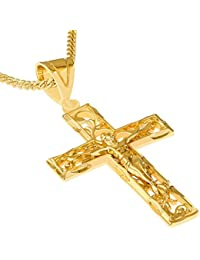 "Crucifix Necklace, Filigree Cross, 24K Gold Over Bronze (with or without 20"" Chain)"