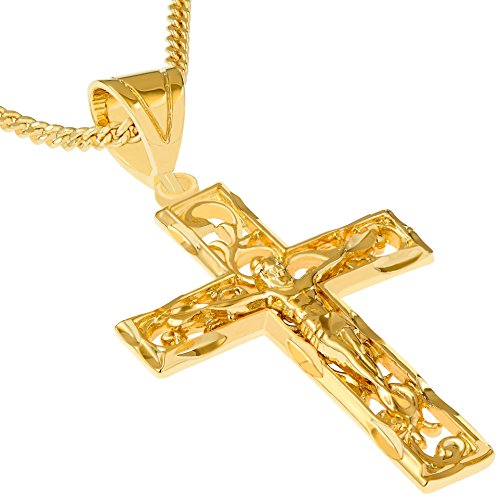 Lifetime Jewelry Cross Necklace for Men & Women [ Large Filigree Crucifix ] 20X More Real 24k Gold Plating Than Other Pendant Necklaces (Yellow Gold Crucifix with 20