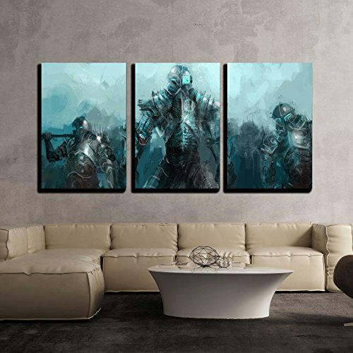 wall26 - 3 Piece Canvas Wall Art - Cybernetics Army, Concept Art Soldiers - Modern Home Decor Stretched and Framed Ready to Hang - 16