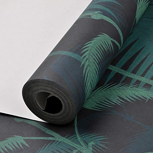 Tropical Jungles Palm Tree Leaves Woods Wallpaper Roll Floral Forest Natural Plant Non-Woven Wall Paper for Childs Room Black Wallpaper 10mx53cm ()