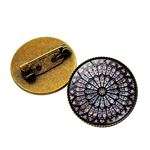 HCDjgh Brooch for Men Rose Window Flower Time Gem Clothing Accessories Retro Notre Dame Suit Dress Pin and Brooches]()