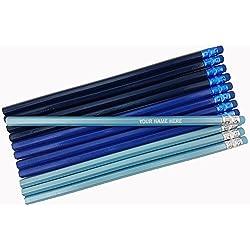 ezpencils - Personalized Shadows of Blue Hexagon Pencils - 12 pkg - ** FREE PERZONALIZATION **