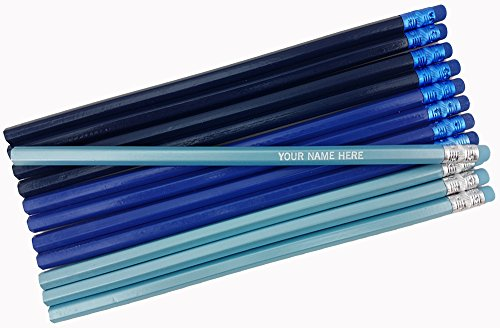 (ezpencils - Personalized Shadows of Blue Hexagon Pencils - 12 pkg - ** FREE PERZONALIZATION **)