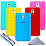 note 3 case package - Note 3 Case, Wisdompro 5 Pack Bundle of Clear Jelly Color Soft TPU GEL Protective Case Covers (Blue, Aqua Blue, Hot Pink, Yellow, Red) for Samsung Galaxy Note 3