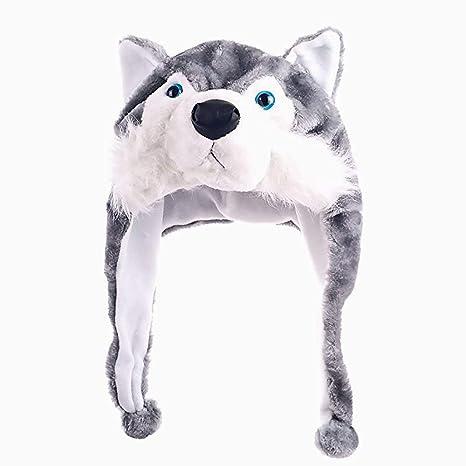 Xiton 1 pz Husky Animale Peluche Inverno Cappello Beanie di Inverno Aviator  Earflap cap(Gray 696f1ffe59b0