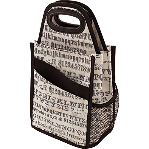 Tim Holtz Idea-ology Typography Spinning Tote, 7.27 x 15.88 x 7.26 Inches, Brown and Tan (CH93800)