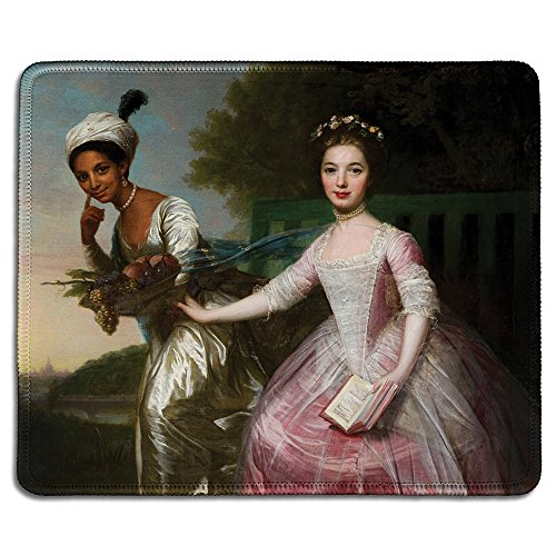 (dealzEpic - Art Mousepad - Natural Rubber Mouse Pad with Famous Fine Art Painting of Portrait of Dido Elizabeth Belle and Her Cousin Elizabeth Murray - Stitched Edges - 9.5x7.9 inches )