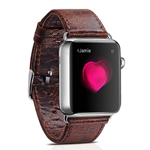 Apple Watch Leather Band, 38mm Vintage Apple Watch Band Genuine Leather Replacement Band with Classic Stainless Steel Buckle for All 38mm Apple Watch Series 1 & Series 2 (38mm Coffee)