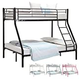 UEnjoy 3FT Single 4FT6 Double Metal Bunk Beds Triple Sleeper Beds for Adult and Childrens (Black 75.2'*52'*65.4')