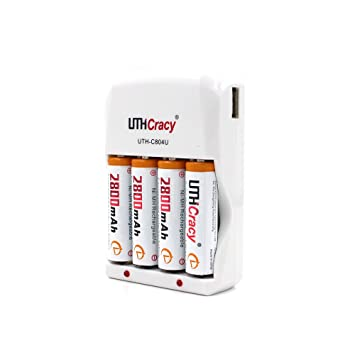 UTHCracy 4 Pack 2800mAh NiMH AA Rechargeable Batteries With Smart Battery Charger