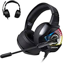 Gaming Headset for Nintendo Switch Xbox one, TUSBIKO Gaming Headphones with Noise Cancelling Microphone, Bass Surround Sound Over Ear Wired Headset LED Lights