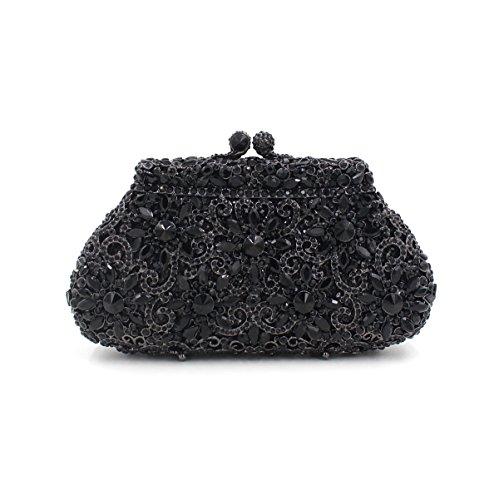 sac la luxe métal papillon diamant Embrayage creux Sac de de de Black Couronne dîner Sac en de de de strass de de cristal qnFATX