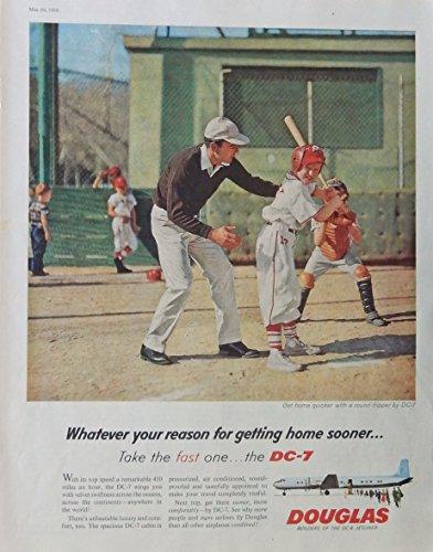 Baseball Illustrations (Douglas DC-7 Airplane 50's Vintage print ad. Color Illustration.(baseball) Original 1958 The Saturday Evening Post Magazine Art)