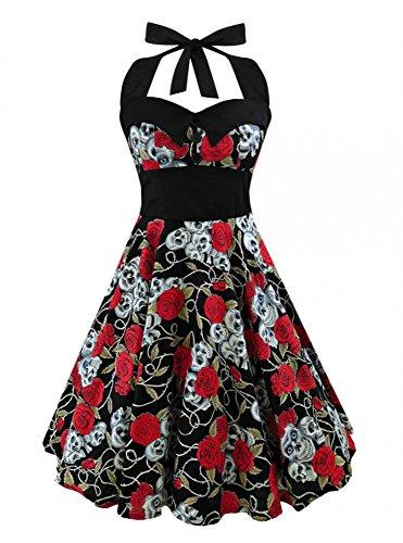 Figure Skater Dress (FISACE Women's Halloween Costume Sleeveless Vintage Hepburn Style Skull Print Flare Skater Dress)