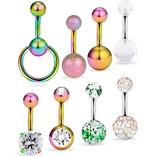 Barbell Style Belly Ring - Ftovosyo 8 Pcs 14G Dangle Short Belly Button Rings for Women Girls Screw Navel Barbell Clear CZ Acrylic Surgical Steel Body Jewelry Piercing Style Rainbow
