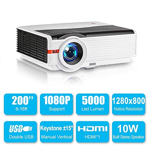 Movies HD Projector 6000lumen 1080P Support Home Theater Cinema LCD Video Projectors for Games with Built-in HiFi…