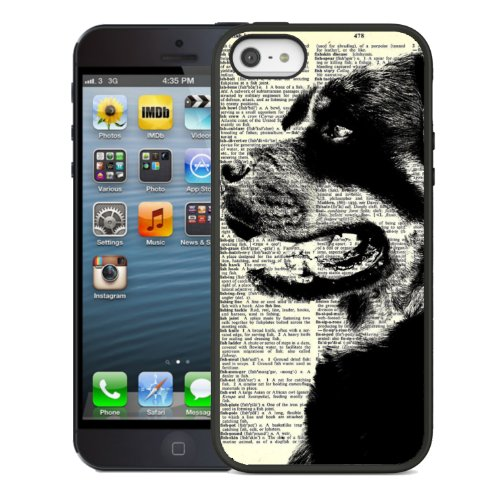 & dog x2605; coque hOUSSE iPhone 5/5s noir case & x2605; & blanc & x2605; rottweiler & x2605; dogs & x2605;
