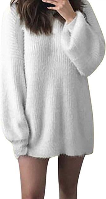 Chandail Longue Femme Hiver Robe Pull Mohair Tricote Chaud Fille Ado Chic Mode Unie Col Rond Lache Blouse Automne Sweater Tops Amazon Fr Vetements Et Accessoires