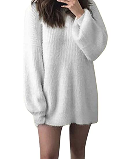 2019 meilleures ventes nouvelles images de moins cher Chandail Longue Femme Hiver, Robe Pull Mohair Tricoté Chaud Fille Ado Chic  Mode Unie Col Rond Lâche Blouse Automne Sweater Tops