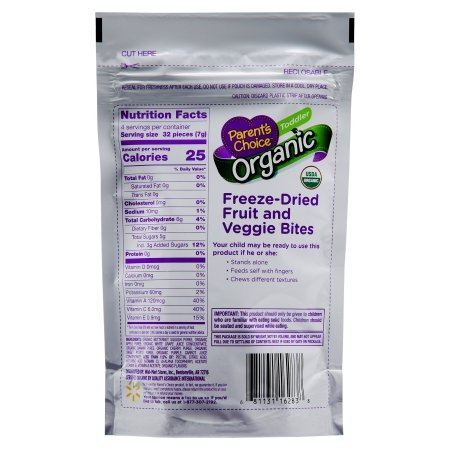Parent's Choice 1 oz Organic Orchard Blend Freeze-Dried Fruit and Veggie Bites Toddler, 12 Pack by Parent's Choice (Image #2)