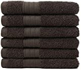 GraceAier Soft Cotton Large Hand Towel Set (6 Pack, Dark - 16 x 28 Inches) - Multipurpose Bathroom Towels for Hand, Face, Gym and Spa (Hand Towels-Dark)