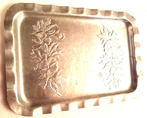 1950s Hand Hammered Aluminum Large Rectangle Serving Tray with Flowers ()