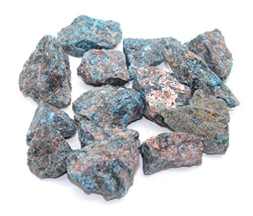 Crystalo - 1lb Bulk Rough Blue Apatite from Madagascar - Large 1 Inch Raw Natural Stones Cabbing, Cutting, Lapidary, Tumbling, Polishing & Reiki Crystal Healing