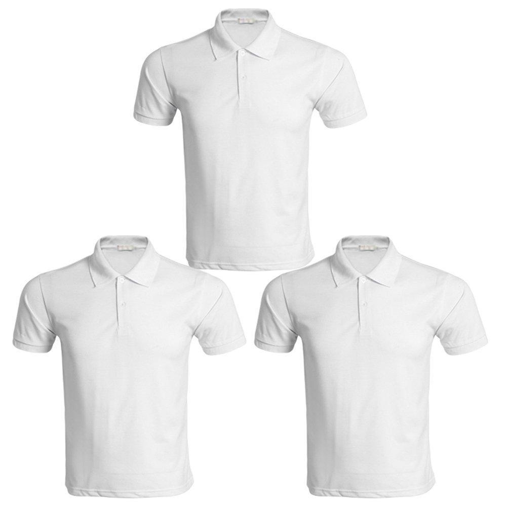 Kairuun Unisex Verano Polos Manga Corta B/ásico Polo con Botones Camisetas Color S/ólido Tama/ño S-3XL