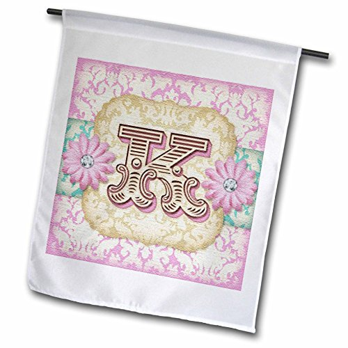 (3dRose fl_102843_1 Garden Flag, 12 by 18-Inch, Regal Pastel Mod Damask Monogram Initial K)