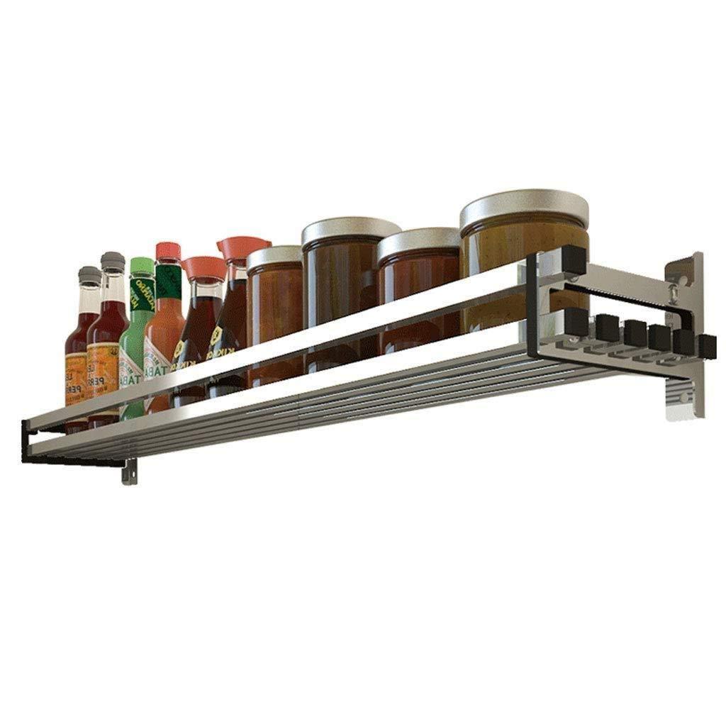 Punch-Free Seasoning Rack Wall Hanging Kitchen Seasoning Racks Nail-Free Storage Shelf 304 Stainless Steel (Size : 60CM)