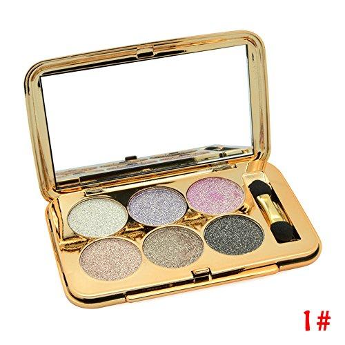 Ucanbe Super Flash Glitter Eyeshadow Palette 6 Colors Eye Shadow Makeup Kit Shine Bright Like a Diamond,No.1 (Urban Decay Eye Shadow Sin)
