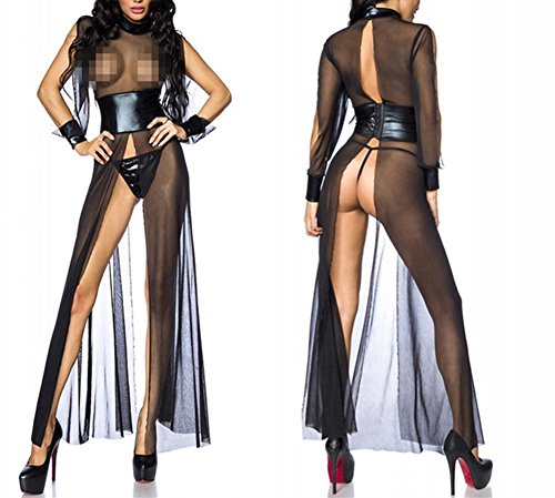 Review Of Sexy Long Nightgown Lingerie for Women Black Mesh Leather Transparent Nightdress