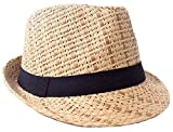 Verabella Straw Fedora Hat Women/Men's Summer Short Brim Straw Sun Hat,Brown,LXL