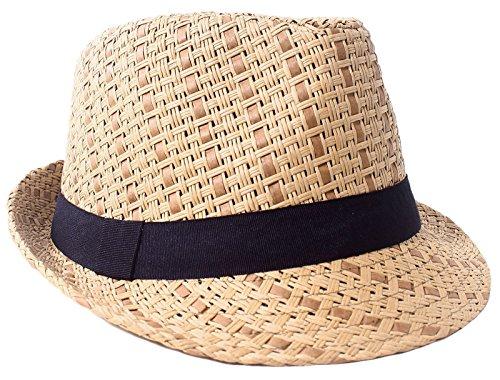 Plaid Straw Fedora - Verabella Straw Fedora Hat Women/Men's Summer Short Brim Straw Sun Hat,Brown,LXL