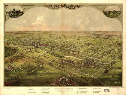 Historic Panoramic Map Reprint: Birds eye view of the city of Lansing, Michigan 1866. 36 x 27 Panoramic Birdseye Map