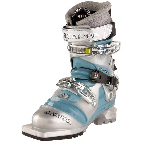 SCARPA Women's T2 ECO Telemark Boot,Silver/Aqua,22 M Mondo / 3 M UK / 5 M US Women