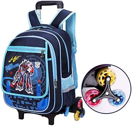 Color : Three Rounds of Blue Ly-lgb Pupils Trolley Bag Boys and Girls Childrens Detachable Hand Strap Shoulder Bag