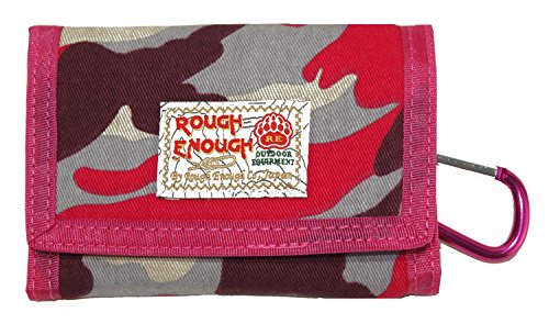 Rough Enough Vintage Camo Military Army Pattern Canvas Sport Outdoors Casual Simple Trifold Small Short Portable Cash Wallet Purse Holder Organizer with Zipper Coin Pocket for School Girl Women Sister