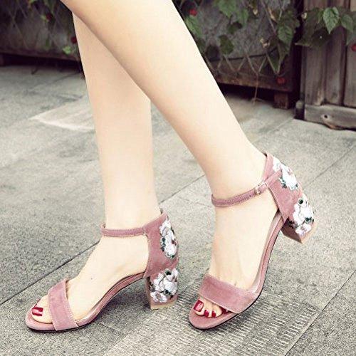 Mat Brodées Mode Robes DKFJKI pour Femme Talons Sandales Surfaces CosyMid Femme Chaussures Pink à La ITIwUq07y
