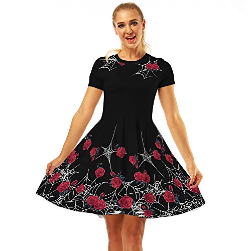 - Women's Swing Dresses 3D Print Short Sleeve Casual Flared Midi Dresses (Spider Rose 023, XL)
