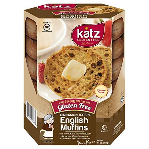 Katz Gluten Free Cinnamon Raisin English Muffins   Dairy, Nut and Gluten Free   Kosher (6 Packs of 4 Muffins, 11 Ounce Each)