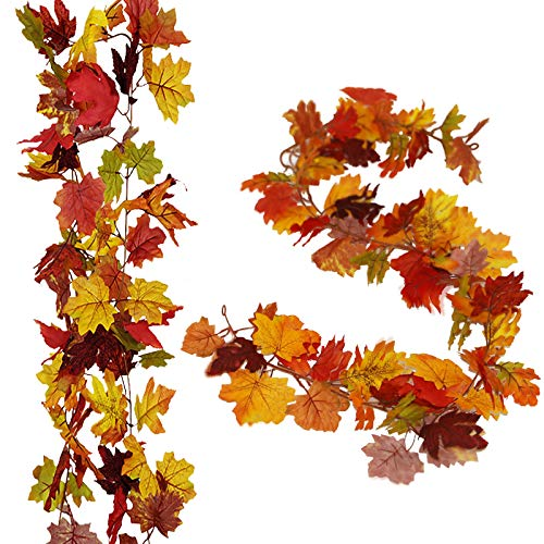 2 Pack Fall Maple Garland - 5.9ft Artificial Autumn Vines Mantle Wreath Hanging for Thanksgiving Wedding Christmas Fireplace Home Party Decor (7 Colors Maple)