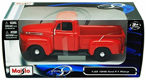 Maisto 1948 Ford F-1 Pickup Truck, Red 31935-1/25 Scale Diecast Model Toy Car