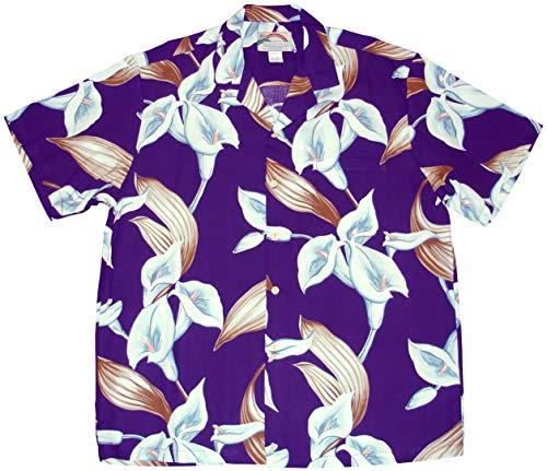 Paradise Found Men's Calla Lily Tom Sellect Magnum PI Hawaiian Shirt, Purple, 2X
