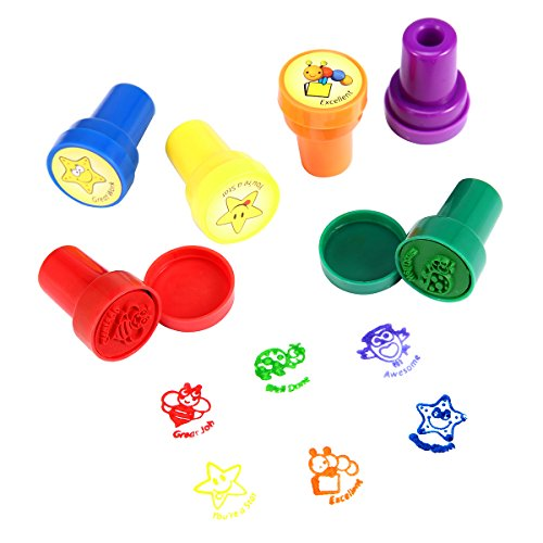 Stamps for Kids, LUCKYBIRD Best Plastic Self Inking Reward Stamps Set, 6 Count